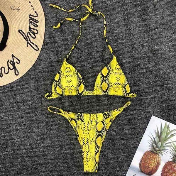 Tomar banho Swimwear 2019 cintura Bikini New alta Set Amarelo Bandeau Swimsuit Sexy Imprimir Thong Bikini Mulheres Two Pieces Banhista