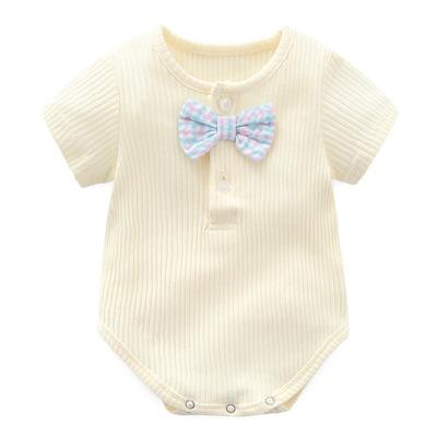 Bebé mono de manga corta bolso pedo traje de rastreo cómodo algodón nudo de plomo linda fábrica al por mayor