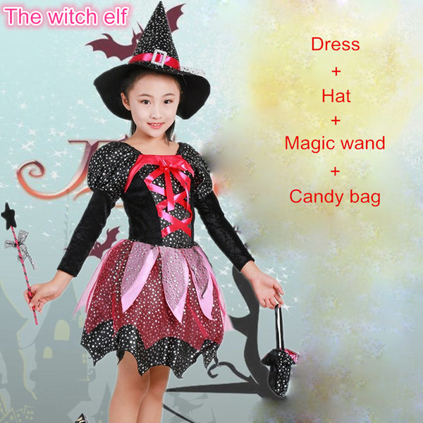 New 2019 Christmas Girls Party Dress Carnival Princess Dress Kids Halloween Clothes set show Children Cosplay Costume set