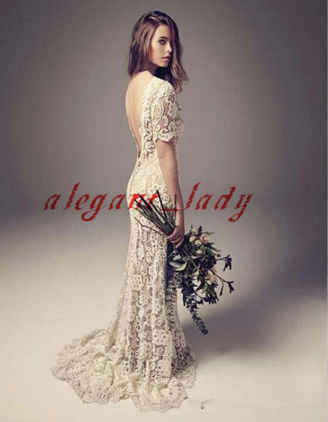 Backless Beach Mermaid Wedding Dresses with Sleeve Vintage Retro Crochet Cotton Lace Summer Bohemian Country Bridal Reception Gown