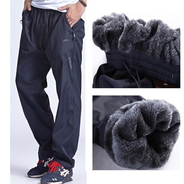 Grandwish Erkekler Kış Sweatpants Sıcak Fleece Kalın Pantolon Erkek Gevşek Elastik Bel Pantolon Cepler ile Günlük Pantolon Pantolon, DA897 V191108