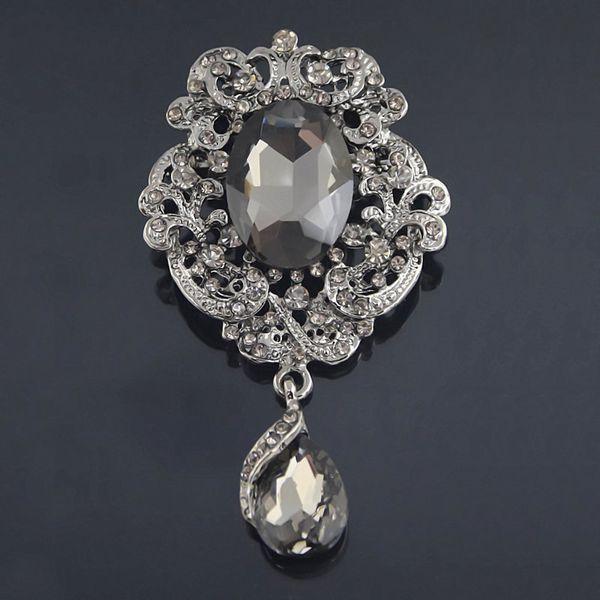 Silver Tone Crystal Drop Pendent Brooch Pins Wedding Bridal Bouquet Black Gem Water Droplets Brooch Drop Crystal Brooch Women Costume 24PCS