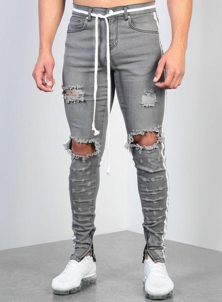Mens Rasgado Fita Cinza Skinny Jeans Designer de Moda Oi-Street Afligido Denim Basculadores Joelho Buracos Lavado Destruído Slim Fit Calças L0023