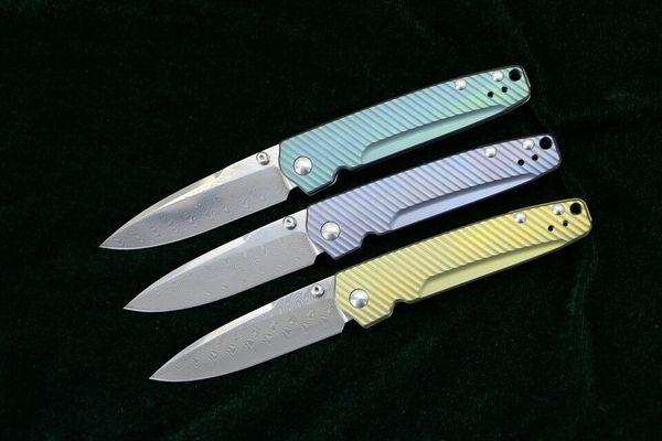 Hot sale! Butterfly EDC Pocket Folding Knife Damascus Steel Drop Point Blade Titanium Handle Surival Folding Knives Xmas Gift EDC Gear