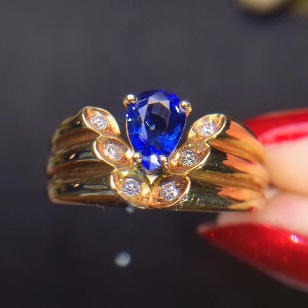 fine jewelry real 18k rose gold 100% natural blue sapphire gemstone 18k gold diamonds stone female ring, Golden;silver