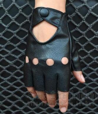 Homens e mulheres Semi-dedo da motocicleta luvas dos homens metade do dedo PU amantes de couro sem dedos luvas sexy cortar TB040