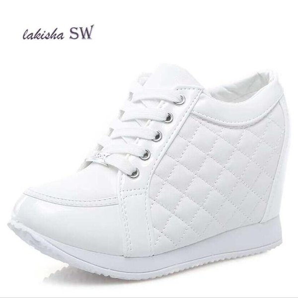Lakisha Sw Hot Sale Hidden Wedge Heels Fashion Women's Elevator Shoes Casual Shoes For Women Wedge Heel Rhinestone Black White