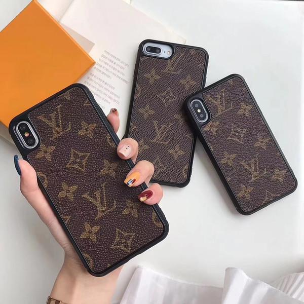 Moda de lujo caja del teléfono Casos de cuero de alta calidad para Iphone X XR XS Max 7 8 Shell PU cuero marca proteger contraportada
