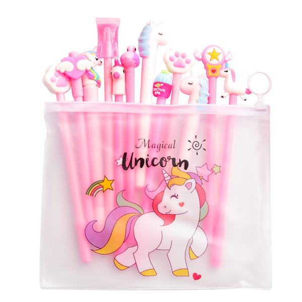 20pcs Pink Gel Pen Pencil Case Set Kawaii BTS Unicorn Cactus 0.5mm Black Ink Cute Pen Canetas Escolar Korean Stationery WJ077