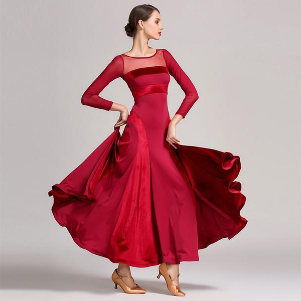 Rot Standard Ballsaal Kleid Frauen Walzer Kleid Fransen Tanzabnutzung Ballsaal moderne Kostüme Flamenco