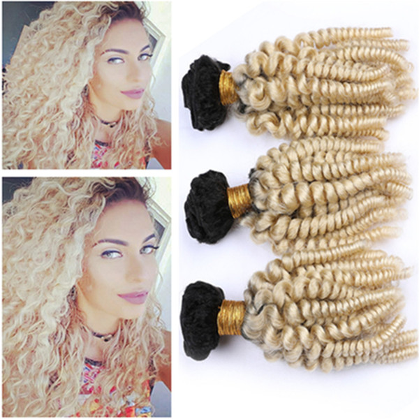 Dark Root Blonde Ombre Aunty Funmi 3Bundles Malaysian Hair Mixed Length #1B/613 Blonde Ombre Human Hair Weaves Bouncy Curly Hair Extensions