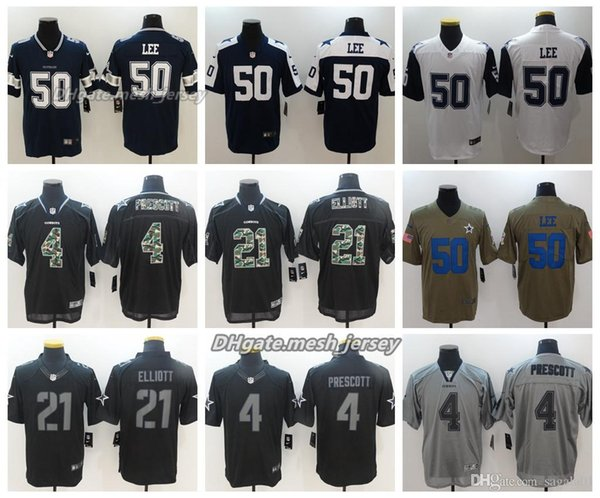 sports shoes e8d90 84470 2019 2018 Men Dallas Jersey Cowboys 21 Ezekiel Elliott 55 Leighton Vander  Esch 4 Dak Prescott Color Rush Football Stitching Jerseys Embroidery From  ...