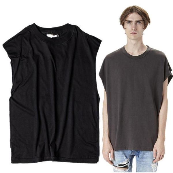 Mens Hi-street Sleeveless Tank Top T Shirt Men Retro Rock Style T-shirt 100% Cotton Solid Loose Tshirt Streetwear For Men