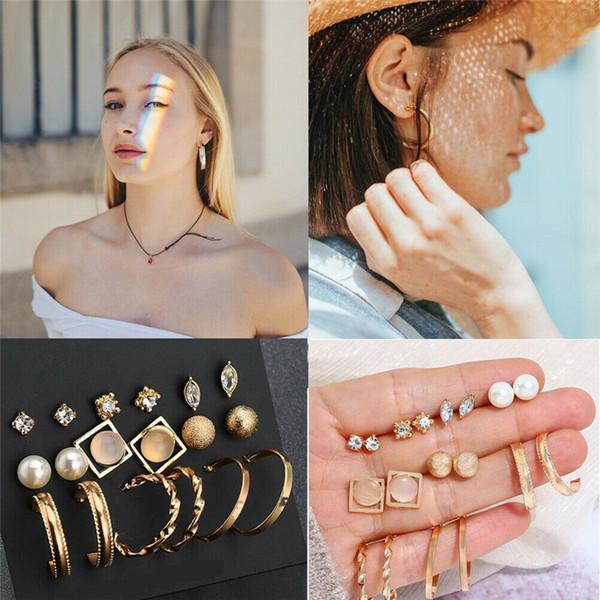 9pairs Lotti della moda di New 2019 dell'orecchio delle donne di cristallo dell'oro Orecchini perla insieme dei monili regalo degli orecchini con strass