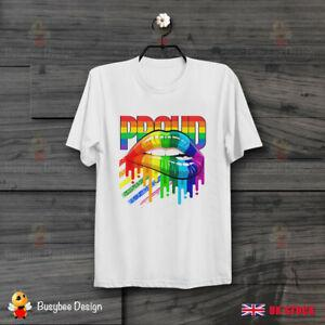 LGBT Rainbow Proud Lips Orgullo gay Camiseta unisex fresca B594
