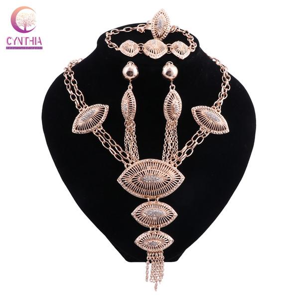 Mode Hochzeit Afrikanische Perlen Schmuck Sets Dubai Gold Farbe Halskette Ohrring Sets Kostüm Romantische 2018 Neue Design
