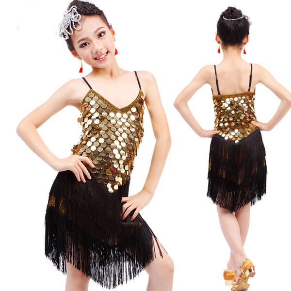 828ec50dc01f3 2019 Sequin Fringe Dress Dance Gold Latin Competition Costumes For Girls  Salsa Dresses With Tassels Samba Clothing Children Ballroom From  Blueberry15, ...