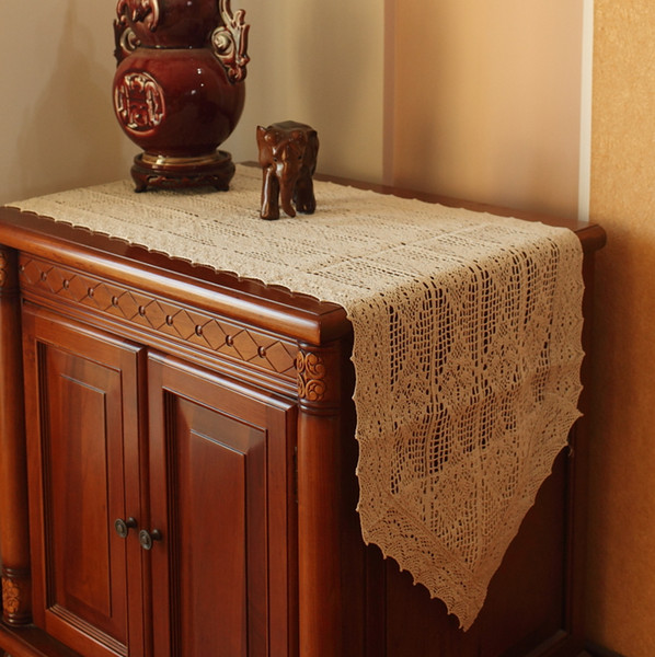 100% coton tricoté dentelle nappe Shabby Chic Vintage chemin de table en crochet, coton fait main dentelle table topper