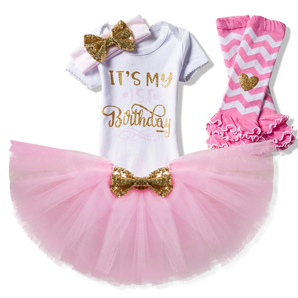 Newborn Baby Girl Clothing Little Girls 1st Birthday Outfits kids Romper + Tutu Dress + Headband Infant Party Costume Children Clothes XF109