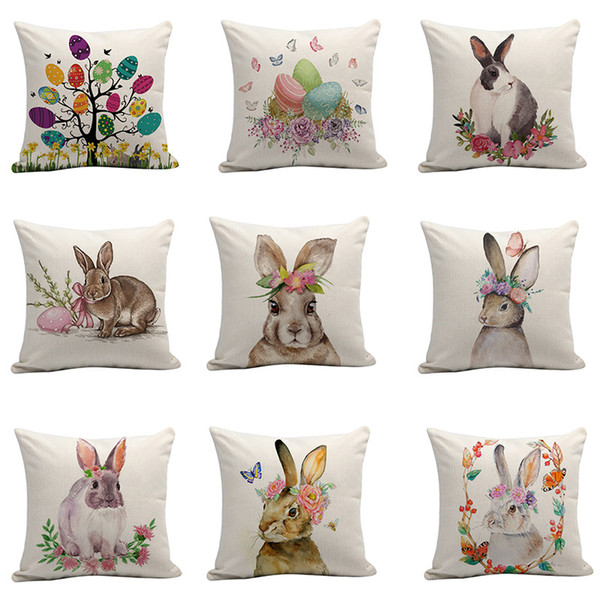 9styles Easter Rabbit pillow case Cushion Cover egg flower print Pillow Cover Sofa Nap Cushion Covers Home Decoration 45*45cm FFA1651