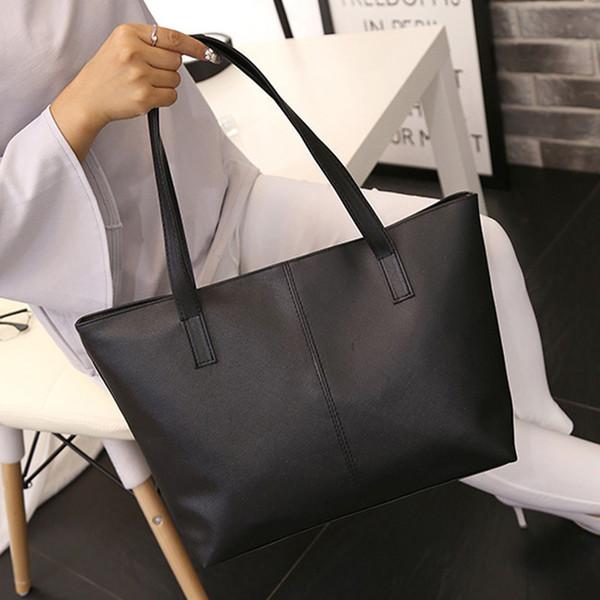 Bolsos de las mujeres de moda Sólido Cremallera Flap Bag Damas de Cuero Bolsa de Hombro Celebrity Tote Monedero Bolsa de Viaje Grande Para Las Mujeres 2019