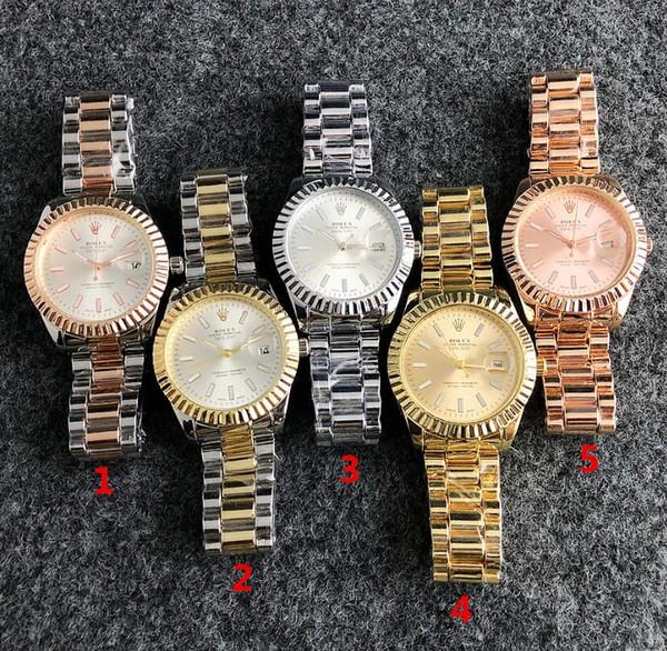 2017 Famoso diseño Moda Hombre Reloj Grande Oro plata Acero inoxidable Relojes de cuarzo de alta calidad para hombre Reloj de hombre de negocios reloj classil