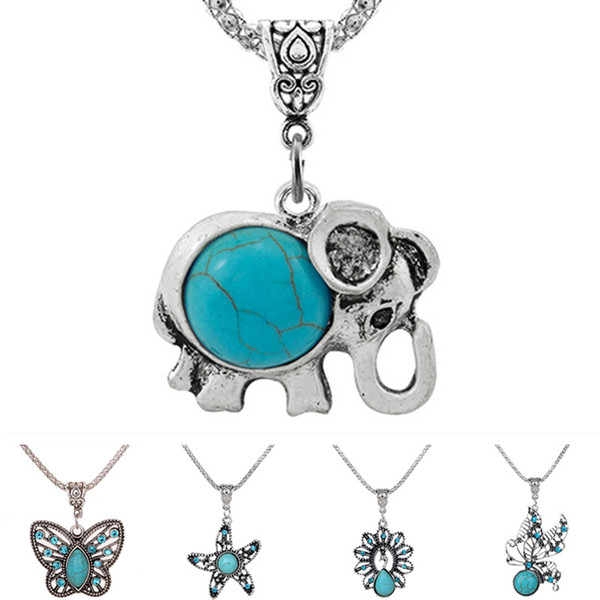 New DJ0158 Beauty starfish butterfly elephant turquoises peacock necklace 50cm fit DIY 18MM snap buttons jewelry wholesale