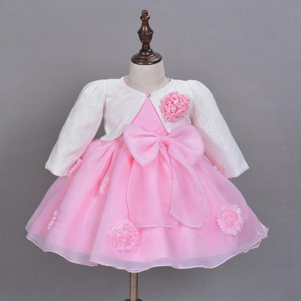 2016 новый горячий продавать розовые девочки платье 3D цветок аппликация пачка Детские платья для 1-2 лет День Рождения Бесплатная доставка