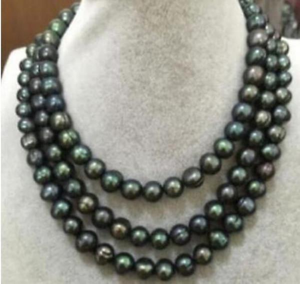 Жемчужное ожерелье Jewelryr 50 дюймов огромный 9-10 мм Южное море черный зеленый жемчужное ожерелье Бесплатная доставка