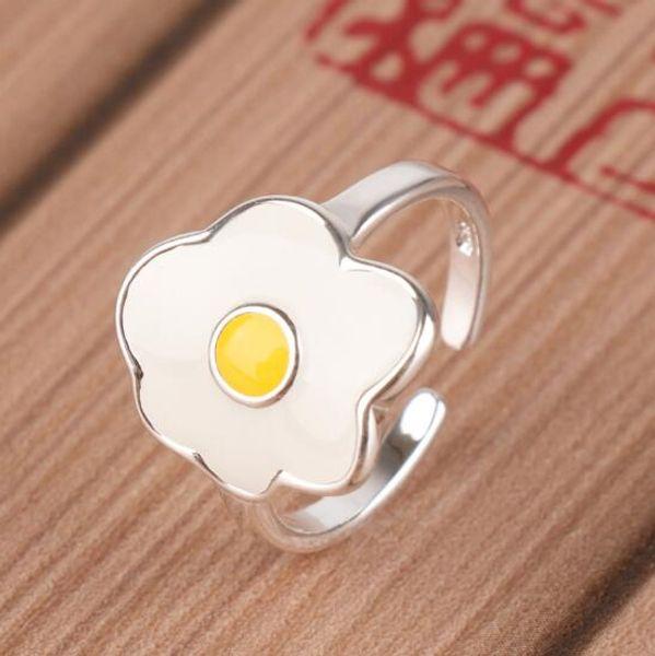 Cartoon Enamel Glaze Food Omelette Purse Eggs Open Rings for Girls Ladies Fashion Statement Jewelry Funny Fashion Chicken Rings