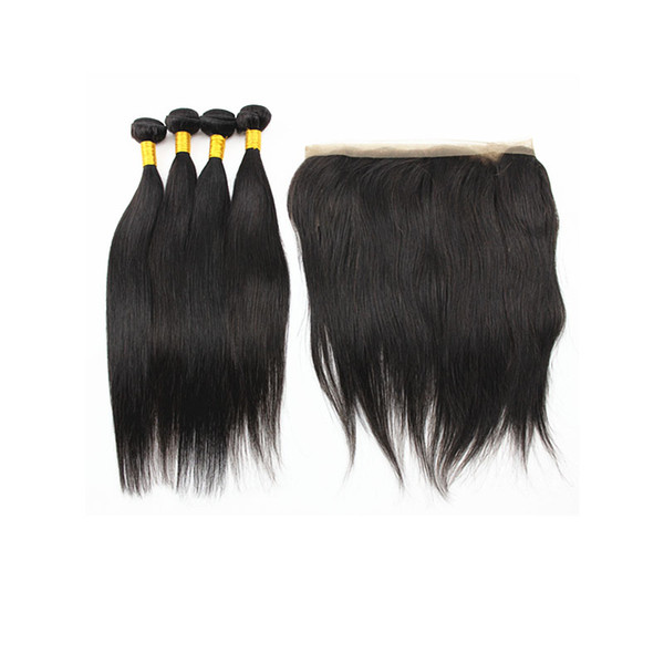Straight Hair Extensions with 360 Degrees Hair Closure Peruvian Indian 100% Virgin Human Hair Weaves 50g/Bundle Natural Color 8-28 inches