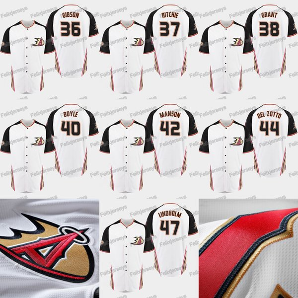 2019 Anaheim Ducks 47 Hampus Lindholm Michael Del Zotto Josh Manson Kevin Boyle Derek Grant Nick Ritchie John Gibson Jersey de béisbol