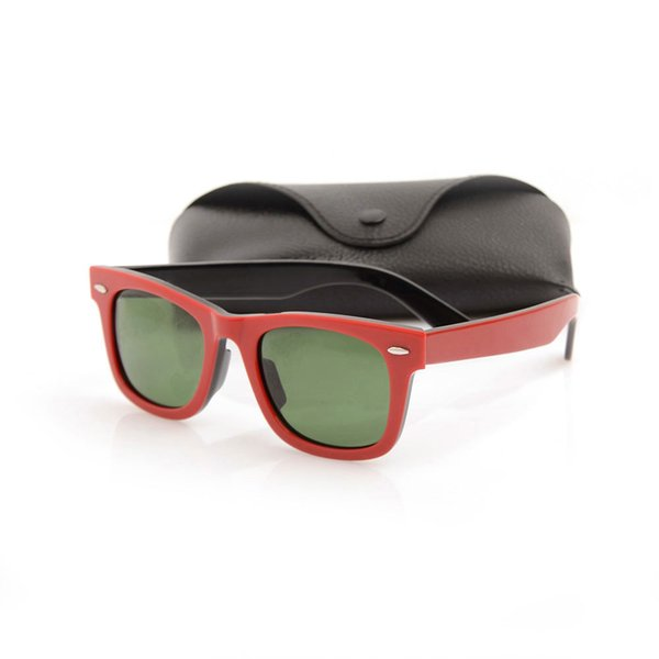 Excellent Quality vintage Sun glasses unisex Plank red black Sun glasses glass Lens Green Lens Sunglasses Classic sun glasses with cases box