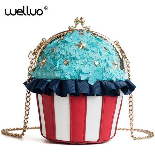 Fashion Cake Women Day Clutch Ice Cream Chain Hand Bag Cute Girls Crossbody Messenger Bags Female Mini Clutches Handbag XA29B