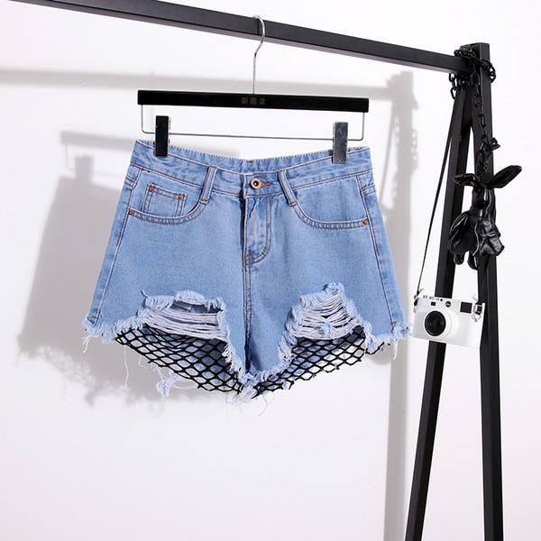New Summer Jeans Shorts High Waist Jeans for Woman Net Holes Zipper Boyfriend Sexy Shorts Pants Plus Size
