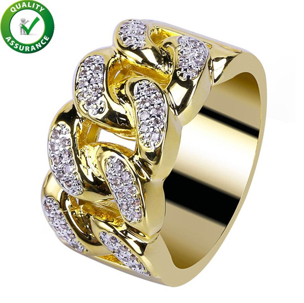 Hip Hop Mens Jewelry Rings Luxury Designer Gold Iced Out Full CZ Cuban Link Chain Finger Ring Bling Engagement Diamond Ring Love Wedding