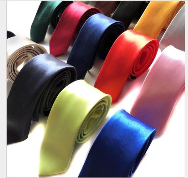 5 cm Pure Colour Tie Men's Leisure Korean Narrow Small Polyester Silk Tie