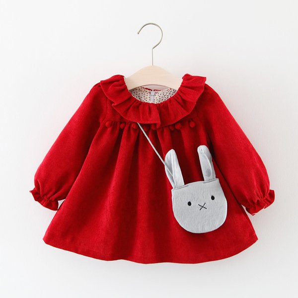 Autumn Children's Clothing Solid Color Frilled Collar Chest plus Velvet Ball Long Sleeve Girls Dress Boutique Baby Dresses Baby Girl Clothes