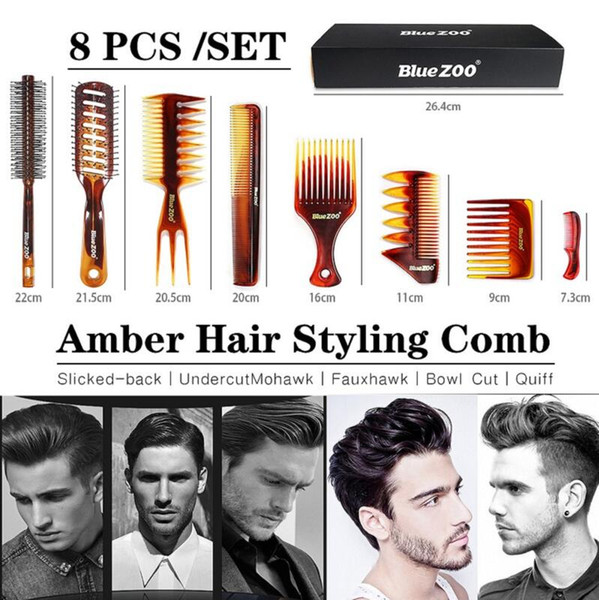 best selling Blue zoo amber combs 8-piece suit heat resistant and anti-static men's oil head big back hair combs dhl free shipping