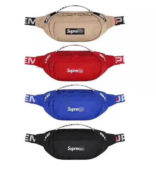 Bolso para hombre Sup 18SS Bolso de cintura 44a Unisex Fanny Pack Moda Hombres Lienzo Hombres Bolsas de mensajero 17AW Bolso de hombro