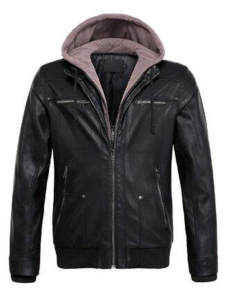 Новая мужская куртка S европейский и американский стиль метанию капюшоном Кожа Съемные Поддельный Двухсекционный кожаные куртки пальто Мужской