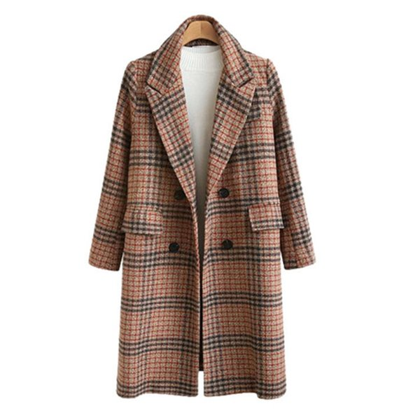 Autumn and Winter Dresses New Women's Dresses Large Size Loose Long Chequered Wool Overcoat Fabric Coat in Europe and America