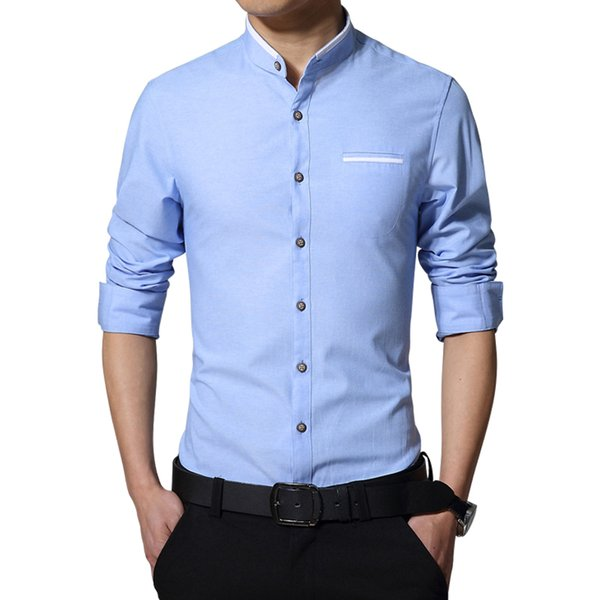 2019 New Brand Men's Casual Shirt Long Sleeve Banded Collar Easy Care Collarless Shirts Slim Fit Dress Shirt For Men Business Y190417
