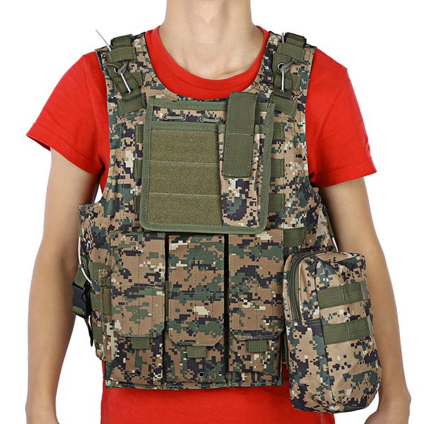 Gilet tattico militare Army Airsoft Molle Vest Combat Hunting Vest con sacchetto Assault Plate Carrier CS Outdoor Jungle Equipment