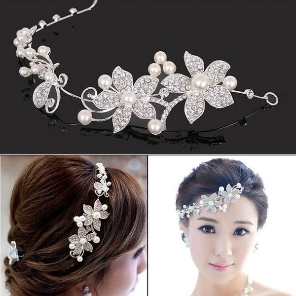 Copricapo da sposa di alta qualità con strass e perle da sposa