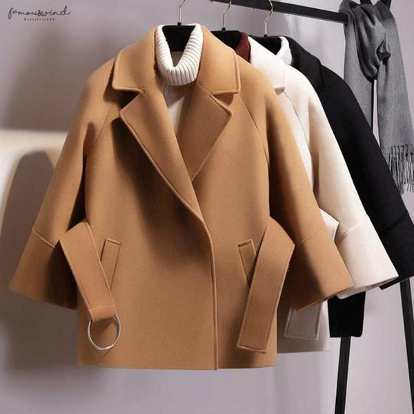 Коротких Женщины шерстяной одежды шерстяного пальто черного пояс куртка женщины пальто для зимы женщина кашемира груза падения