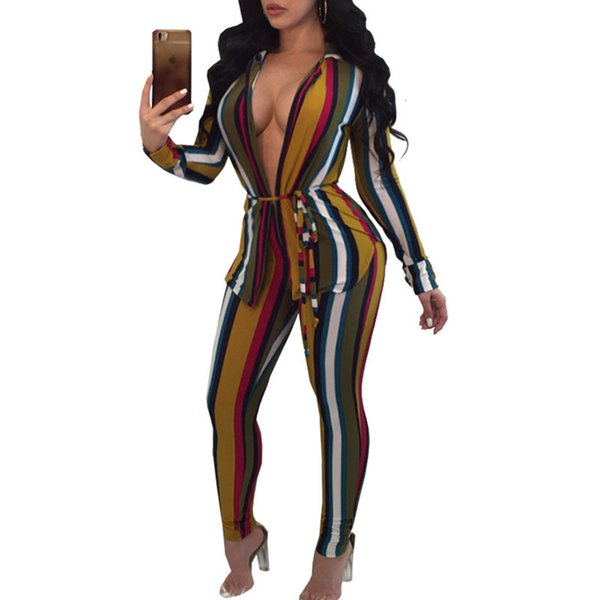 Sexy Sweat Suits Two Piece Set Tracksuit Women Casual Long Sleeve Cardigan Striped Print T -Shirt Tops +Pants 2 Pcs Outfits Sashes Female