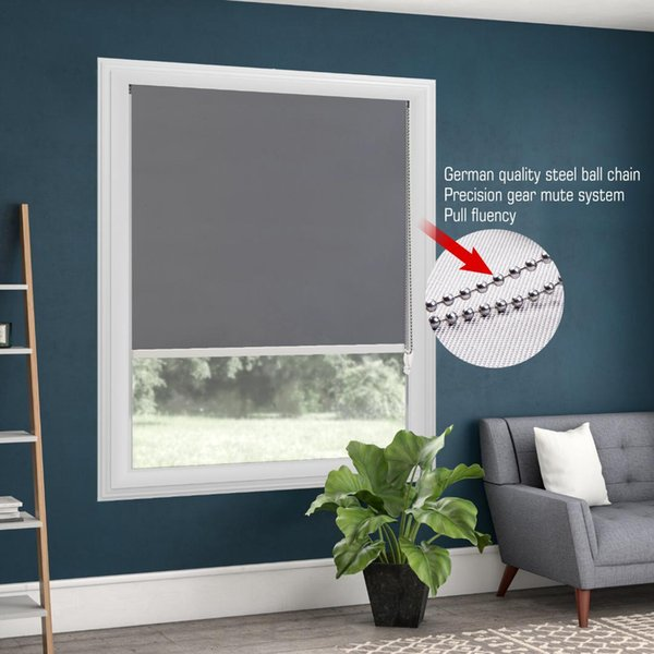 100% Blackout Metal Bead Rope Grigio Roller Blinds Thermal Roller Shade Window Shade Personalizzato Blinds