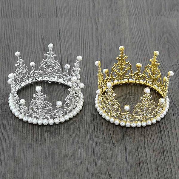 Children birthday Party Crown Hair Clip Gold silver diamond pearl Crown Headwear Baby Girl Hair Accessory Tiaras kids Hair Accessories B11
