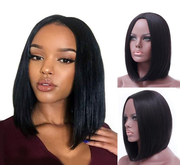 Schwarze mittellange Haarperücken Schwarze glatte Haare in europäischen und amerikanischen Perücken Echthaarperücke Flauschige Kopfbedeckung